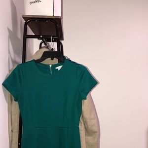 Fitted Teal dress with zipper deal down the back.